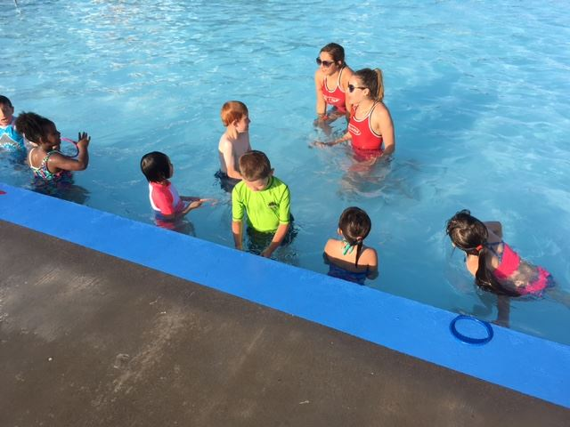 Kids in water during swim lessons